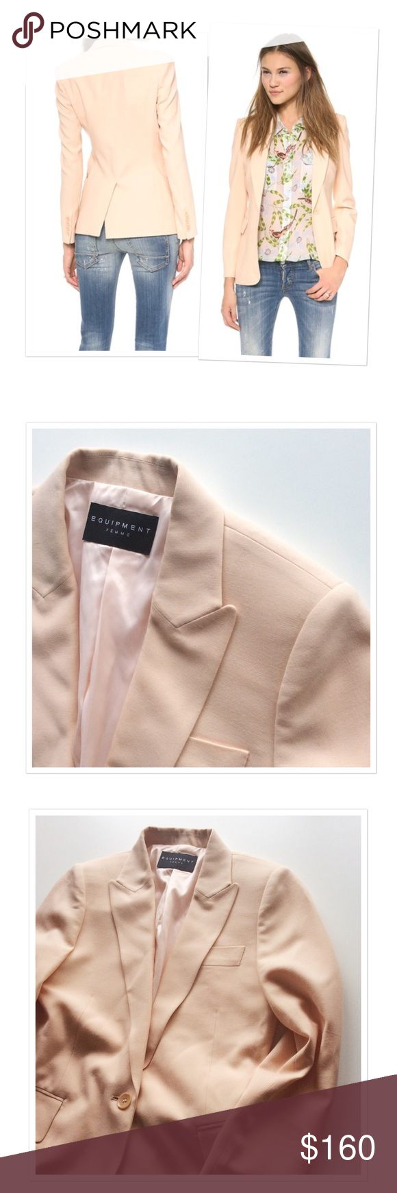 Equipment femme 'Anais' peach blazer jacket Tailored Equipment blazer. Peaked lapels. 3 pockets. Back vent. Lined. Light shoulder padding. Single-button placket. 90% wool, 10% viscose. Size S. Worn twice and in a great condition. Light peach. Removed fabric content label. Equipment Jackets & Coats Blazers