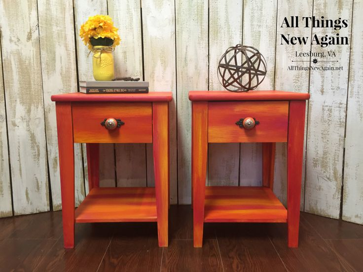 Captivating Unicorn Spit | Red And Orange Blended Painted Nightstands | Bedside Tables  | End Tables |