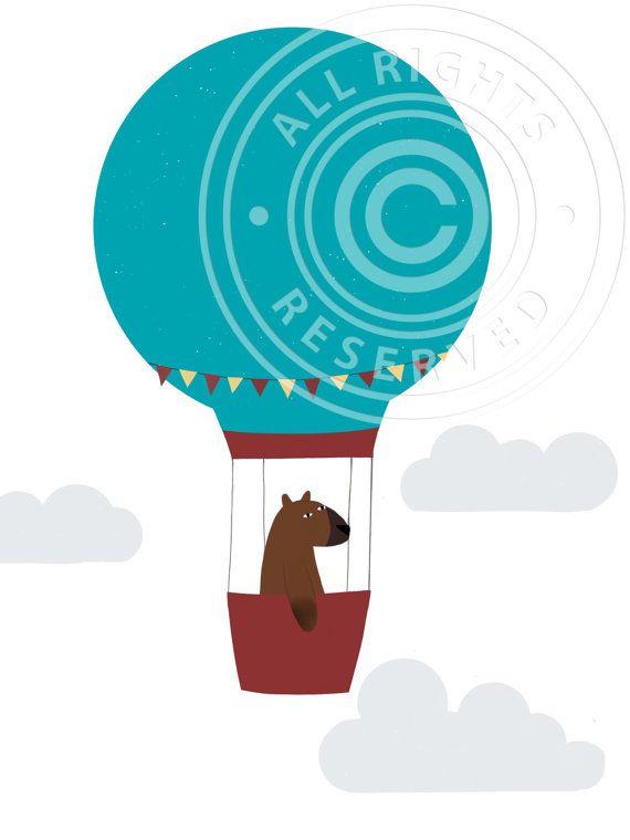 Nursery print. Brown bear in a hot air balloon illustration.