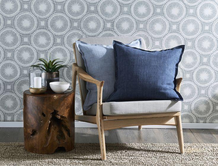 ARCADIA LINEN CUSHION 50X50CM - DENIM/LT BLUE Morgan & Finch | Bed Bath N' Table