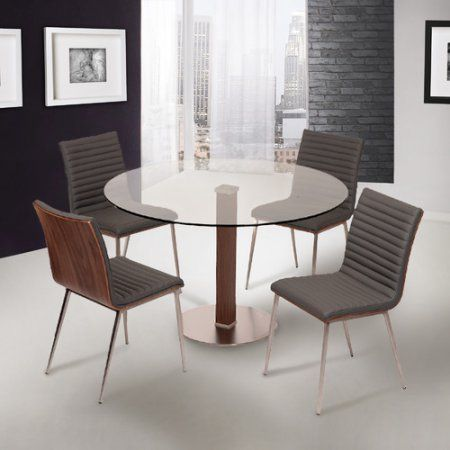 Armen Living Caf Brushed Stainless Steel Dining Table with Clear Glass