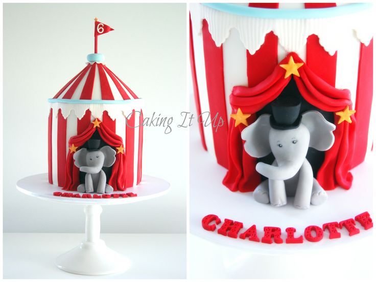 Bright and colourful circus tent cake with cute elephant ringmaster www.facebook.com/cakingitup