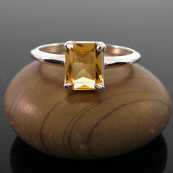 citrine ring Citrine Ring silver size 3 4 5 by MismatchedEarrings