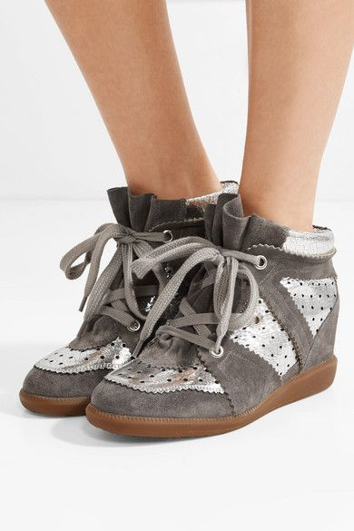 5a27a43a17 Isabel Marant | Bobby perforated metallic leather and suede wedge sneakers  | NET-A-PORTER.COM