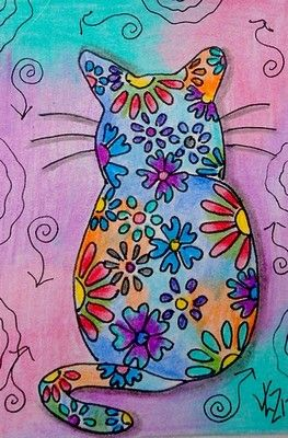 FLOWER CAT ACEO ON EBAY