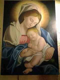 Il Bosco Incantato: Olio su tela Madonna con il bambino