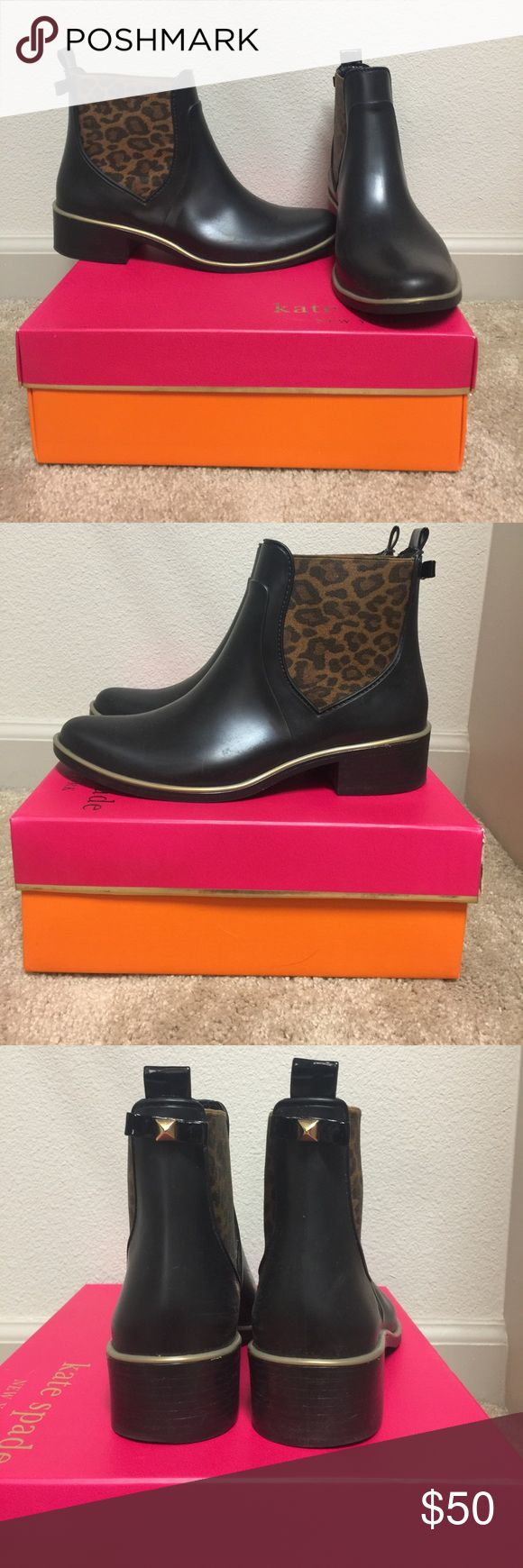 Kate Spade Sedgwick Black matte rubber with natural leopard elastic kate spade Shoes Winter & Rain Boots