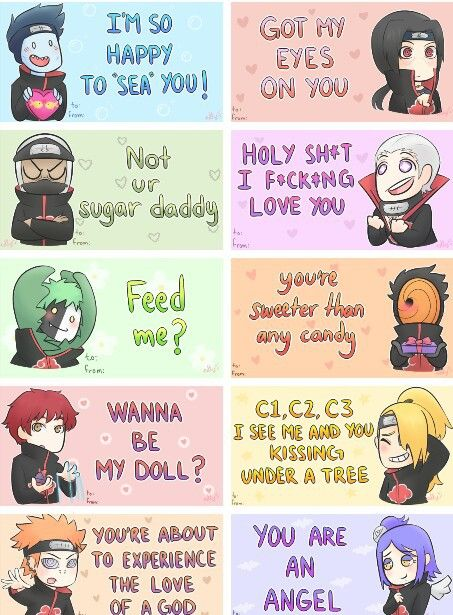 Akatsuki Valentines Day Cards gladly will be Sasori's doll❤️
