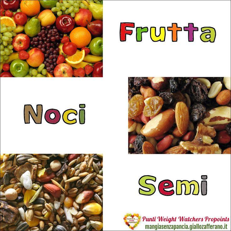 Lista Punti Weight Watchers Frutta, Noci e Semi per calcolare il valore di questi cibi nel diario alimentare quotidiano