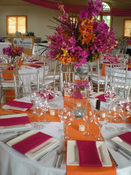 pink & orange tropical reception wedding flowers,  wedding decor, wedding flower centerpiece, wedding flower arrangement, add pic source on comment and we will update it. www.myfloweraffair.com can create this beautiful wedding flower look.