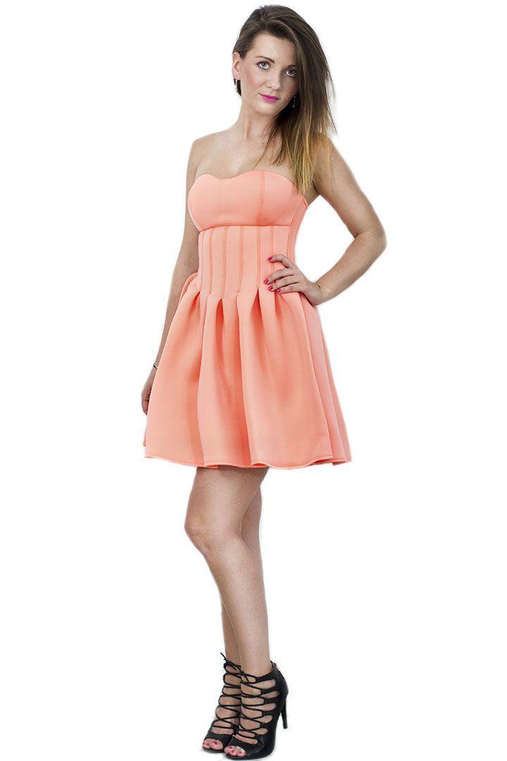 Sukienka rozkloszowana brzoskwiniowa
