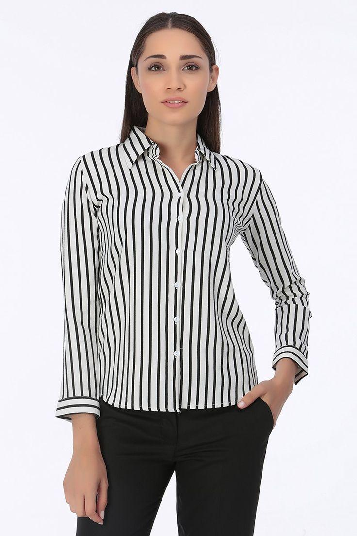 Çizgili Bayan Gömlek Beyaz   Rays Giyim