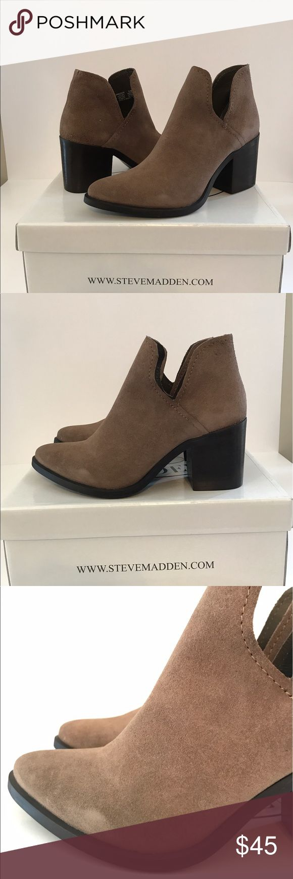 "LOWEST 🔥 $130 Steve Madden Suede Ankle Booties New in box Steve Madden 'Prezzie' booties in a fashionable side cutout style. Perfect shoe to go with some cute denim shorts for festival season! Sz 8 M. Tan suede with a 1.5"" stacked block heel. MRSP $130. Pull on style. Item will come as pictured! Steve Madden Shoes Ankle Boots & Booties"