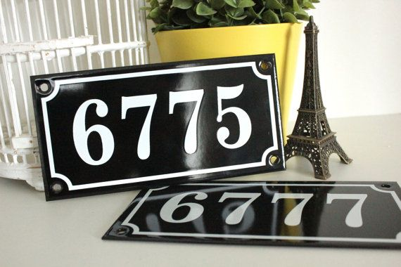 "French enamel house number sign 4"" x 7.9"" *Made to order*, genuine french enamel sign / address plaque / Vintage french decoration"