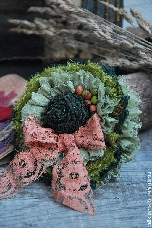 """Брошь """" Луговые цветы"""" - брошь,брошь из ткани,брошь в форме цветка,брошь текстильная"""