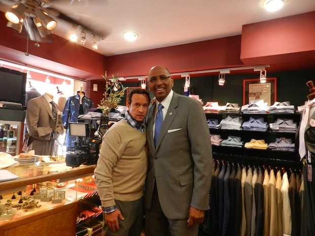 Pauly Shore shopping with Michael Steele at Everard's Clothing in Georgetown.