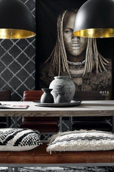 148667 krijtverf eco texture vliesbehang oosters berber tapijt zwart met mat witte print