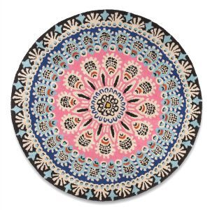 Nomadic Floral Geometric Rug In Pink And Blue W150 X D150 Cm