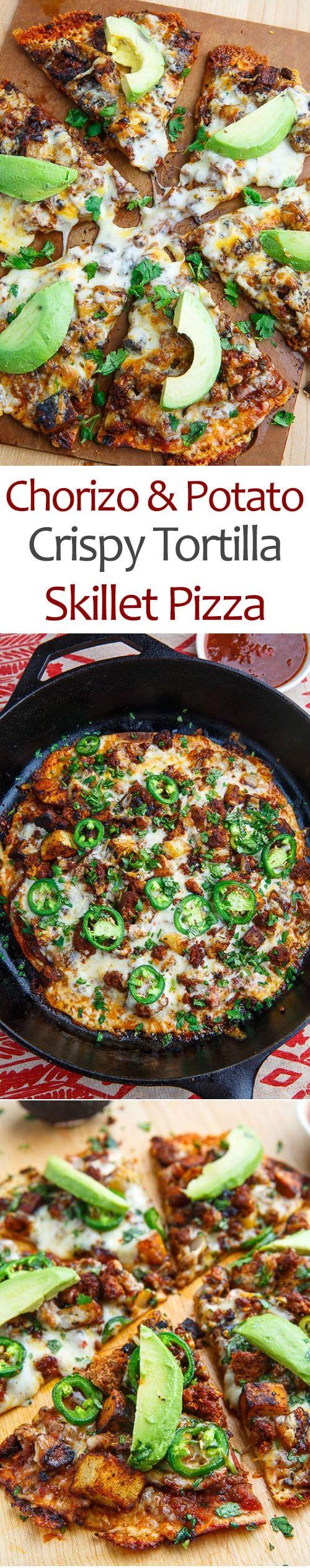 Crispy Chorizo and Potato Tortilla Skillet Pizza