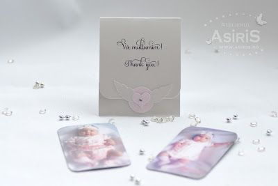 Marturii Botez Ingeras roz Magnet personalizat cu poza bebelusei