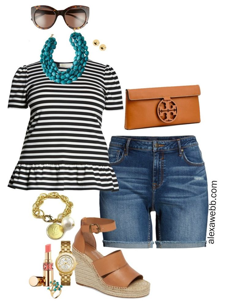 Plus Size Stripes and Shorts Outfit 2