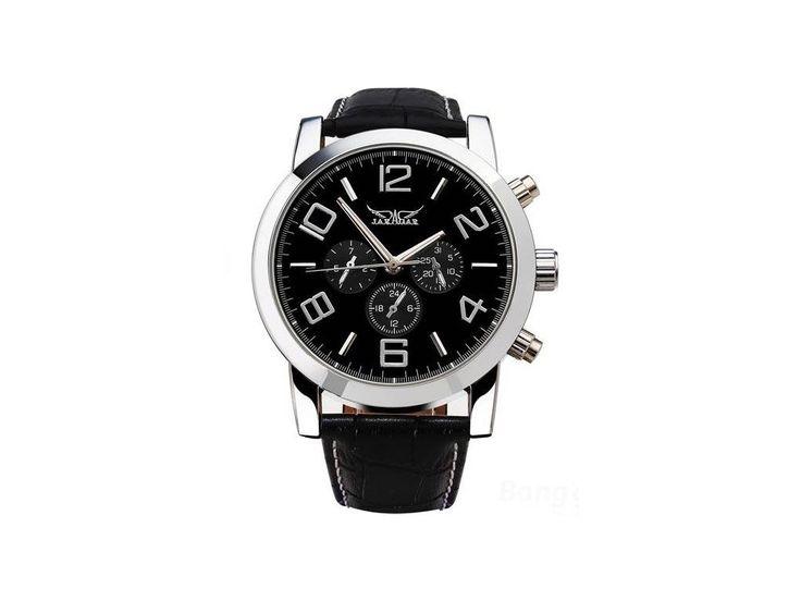 Atraktivní automatické hodinky Jaragar černé s arabskými čísly velké - 24h pásmo, den v týdnu a v měsíci