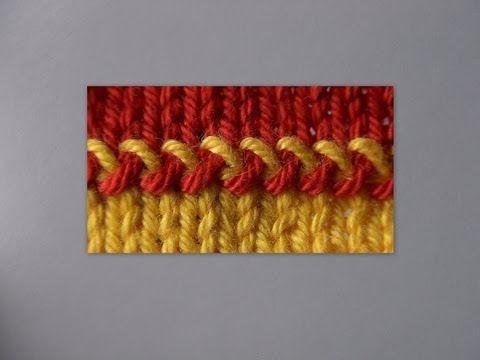 Приемы соединения цветных деталей. Вязание впицами. / Вязание спицами / Вязание спицами для начинающих