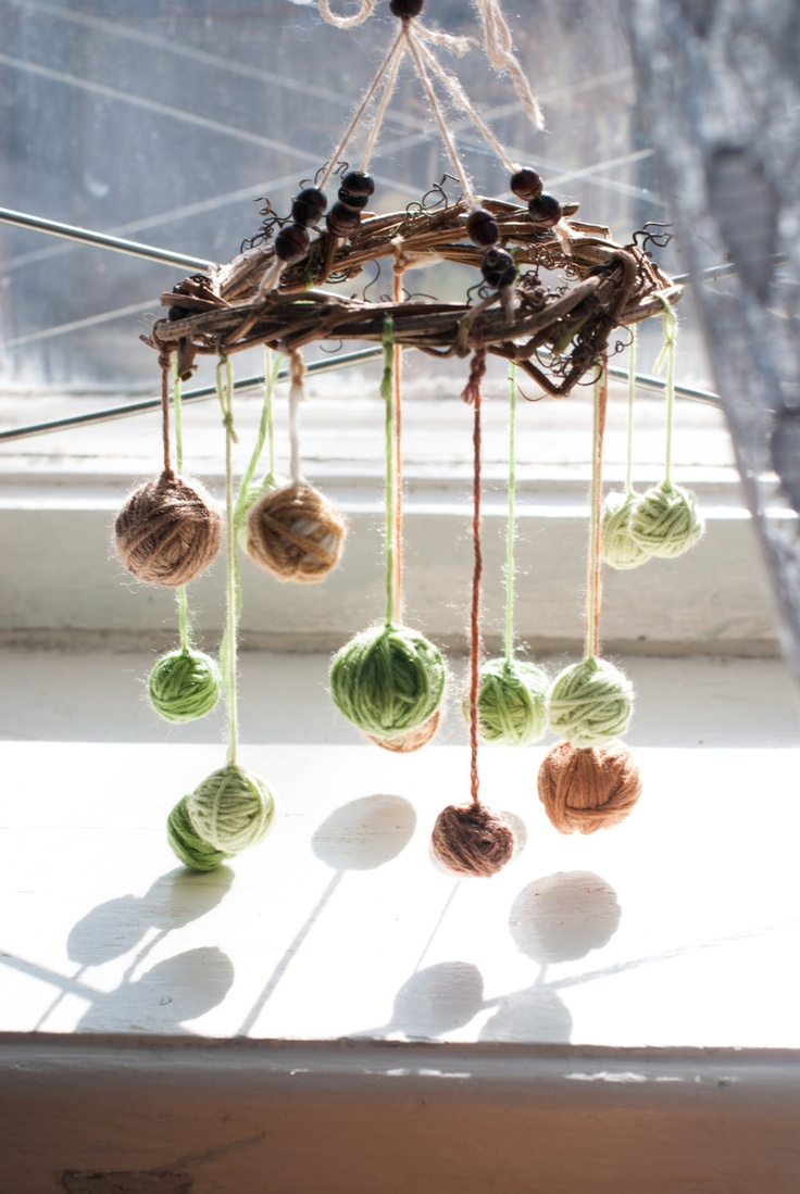 Rustic Mobile - Decoration - Home Decor - Rustic Garland - Green Brown - Natural Elements - Nature Woodland Country - Boho Decor. $22.00, via Etsy.
