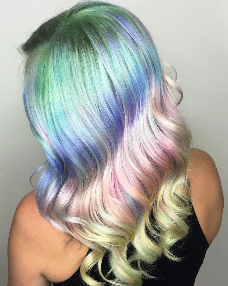 Sparkling Prismatic Pastels by @shelleygregoryhair hotonbeauty.com pastel hair color melt pink hair yellow hair blue hair