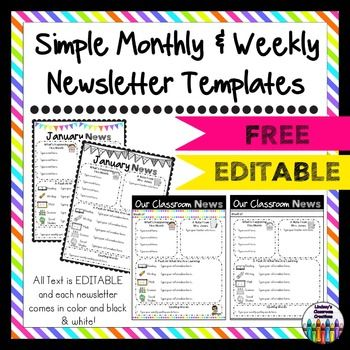 Are you looking for an editable weekly or monthly newsletter for your classroom that will help keep parents informed throughout the school year?  If you are, then this Editable Weekly and Monthly Newsletter Templates digital download is for you!  There are 2 full color and 2 black and white newsletter templates included.