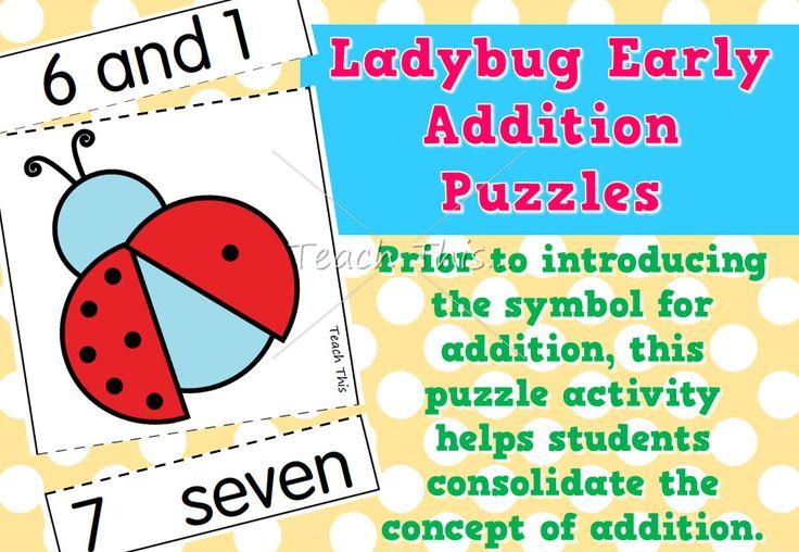 Ladybug Early Addition Puzzles – adding 1
