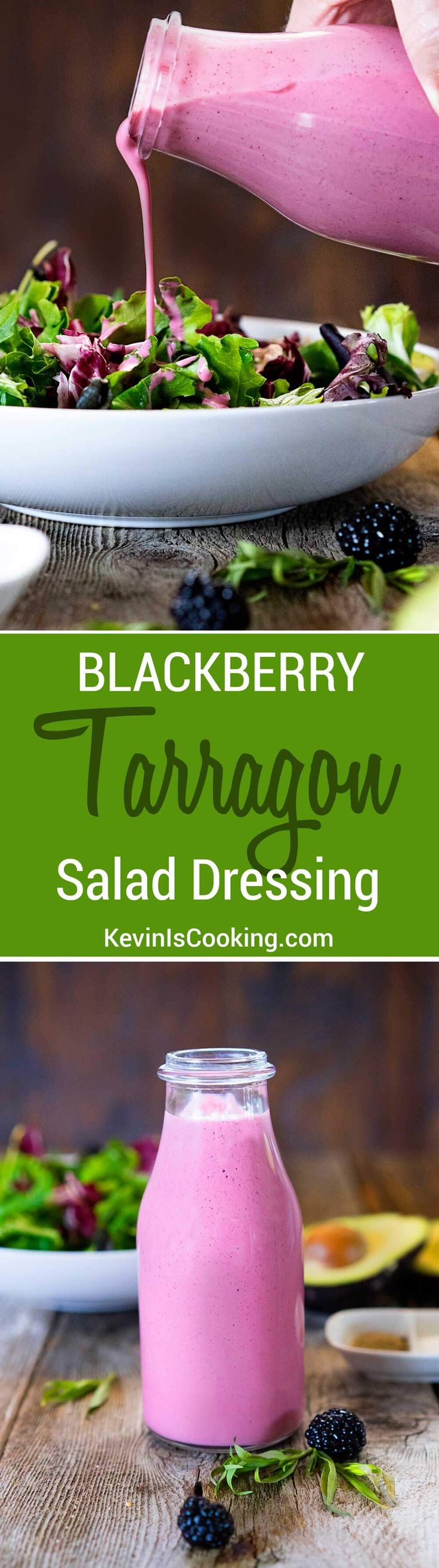 From the fruity blackberry flavor to the tartness of the Greek yogurt and herbal tarragon note, this Blackberry Tarragon Salad Dressing easily peps up the dullest of salads. One use over and over again!