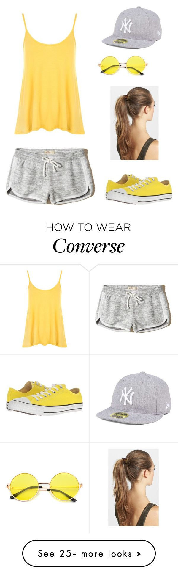 """""""Untitled #339"""" by ladyasdis on Polyvore featuring Hollister Co., WearAll, France Luxe, Converse, New Era, casual, shorts and workout"""