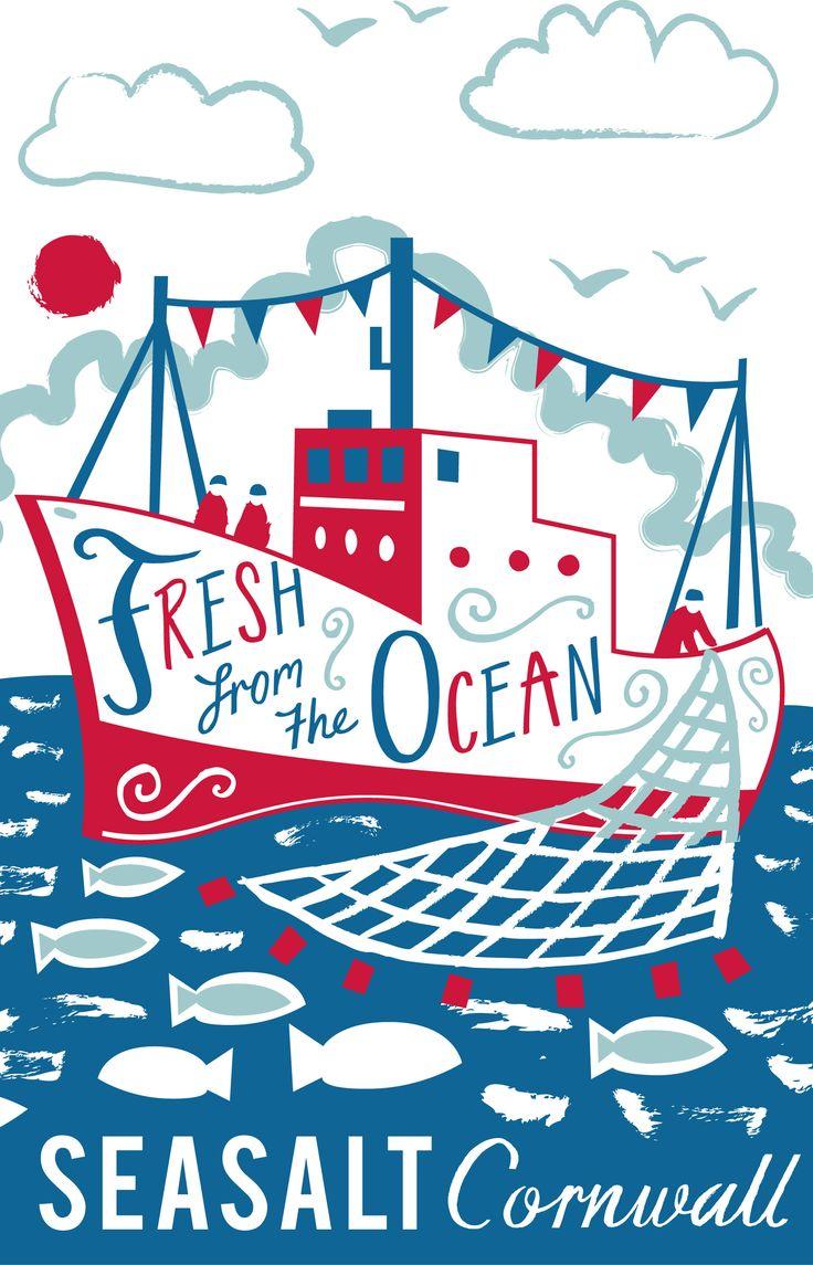 """fresh form the ocean"" nautical tea towel print for Seasalt Cornwall by Matt Johnson. http://www.seasaltcornwall.co.uk/cornish_home/kitchen/teatowels"