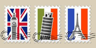 Three Postmarks with sights of Europe Stock Photography