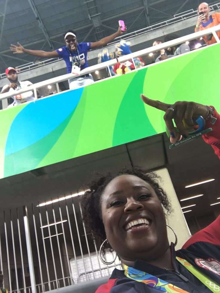 Michelle Carter gold medal winner and Leslie Jones #Olympics #trackandfield #rio2016