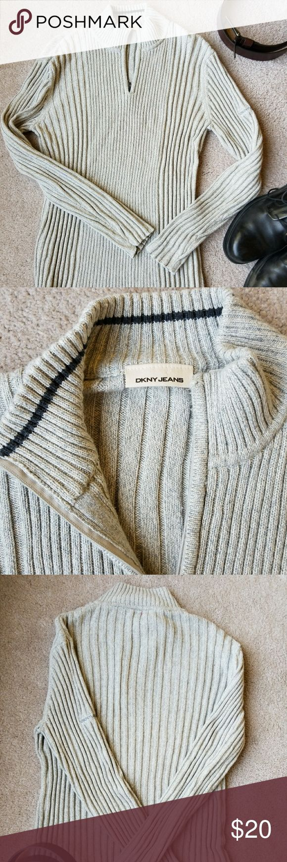 """Dkny large zip faux turtle neck Medium weight 1/4 zip men's pull over.  Sharp looking, ribbed.  Very good condition from a non smoking closet.  Sleeves 25"""" Length 27"""" 💖💖offers encouraged Dkny Sweaters Zip Up"""