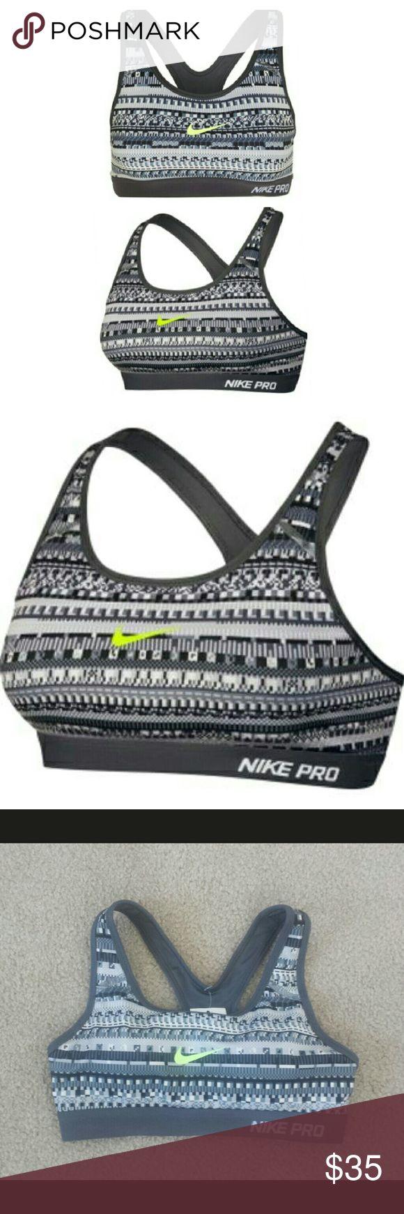 Nike padded Aztec printed sports bra w/neon swoosh NWT Nike padded Aztec printed sports bra with neon green swoosh Nike Intimates & Sleepwear Bras