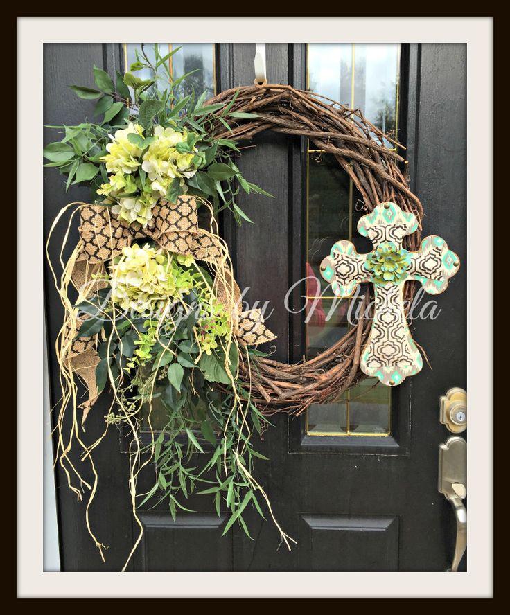 Autumn Vine Cross With Flowers Wreath V2BR169