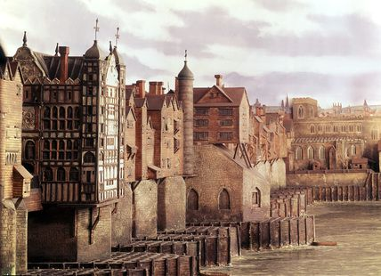 Model of Old London Bridge, John B. Thorp. Seen from the East with part of the Pool of London shipping in the foreground, in about 16th century. This view of London Bridge shows St. Magnus Martyr church on the north bank and Nonsuch House in the foreground - Nonsuch house replaced the medieval drawbridge gatehouse.  Artist/Photographer/Maker John B. Thorp 1901-1939