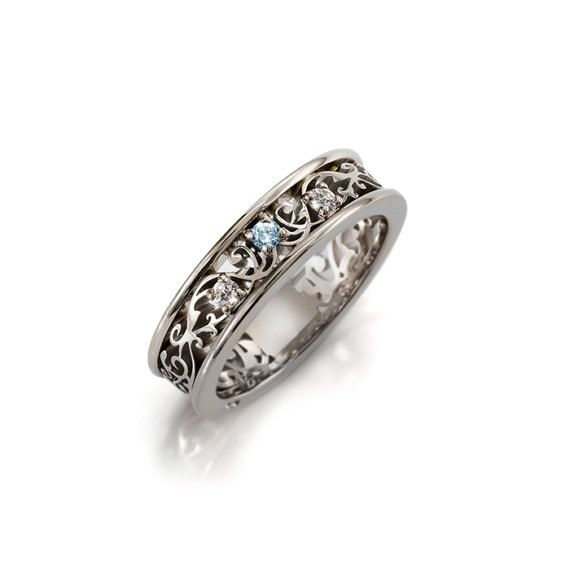 Aquamarine wedding ring set men's palladium wedding band