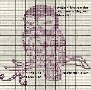 Owl on tree branch, found on : http://sd-4.archive-host.com/membres/up/185886628616714501/Grille_point_de_croix_Chouette_sur_une_branche.pdf