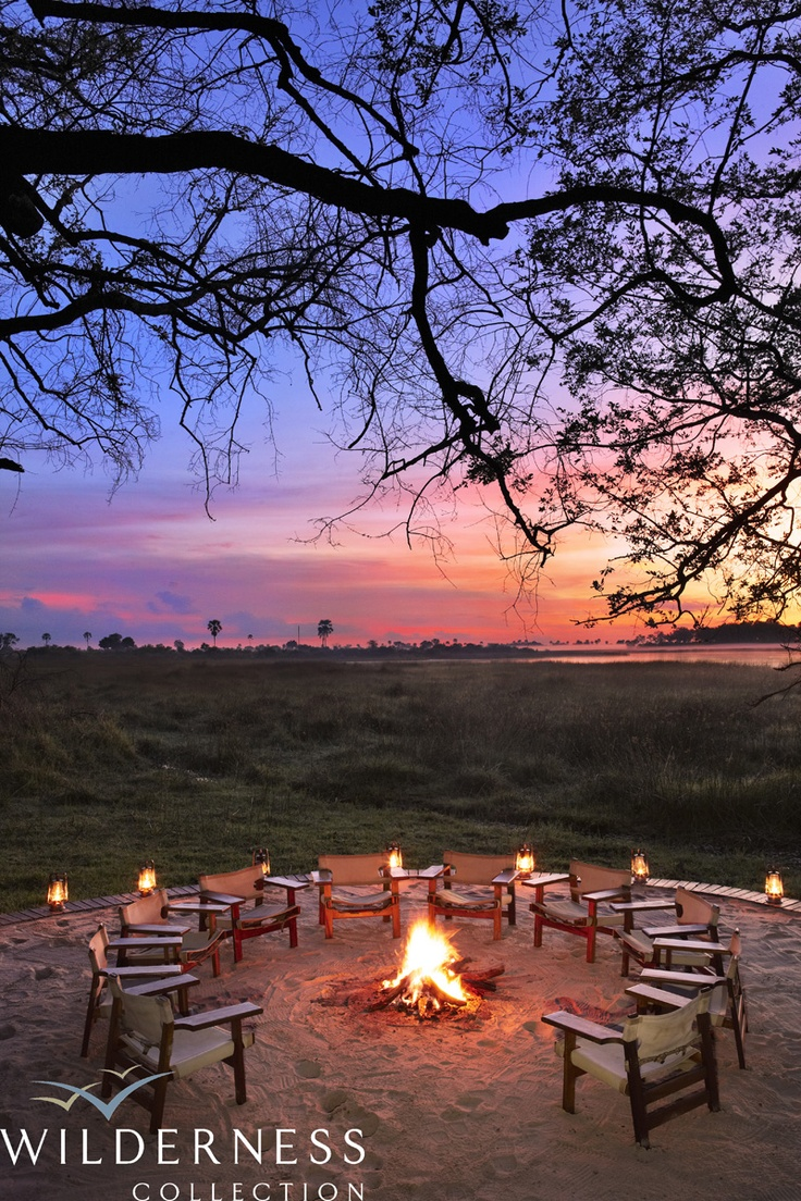 Sundowners at Abu Camp in Botswana