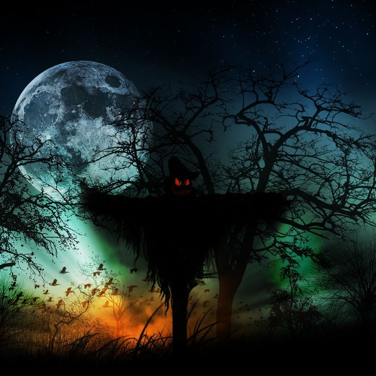 Creepy Scarecrow Horror Creepy Moon Silhouette Scarecrow