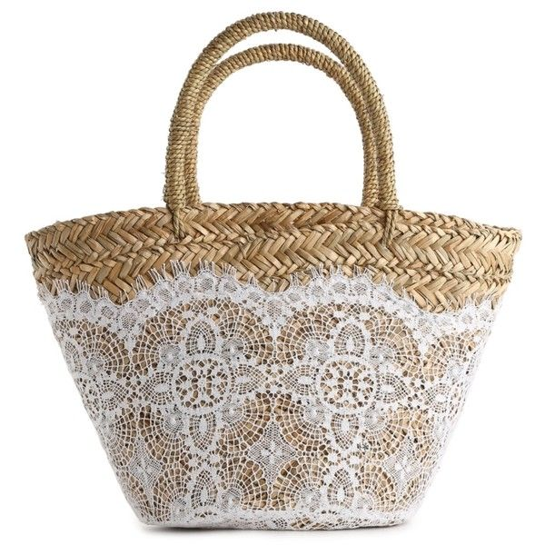 Flora Bella Nimes Crochet Straw Tote ($100) found on Polyvore