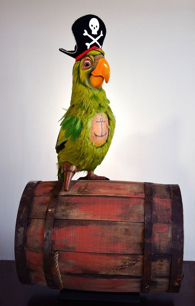 "https://flic.kr/p/a7PbhU | Parrot of the Caribbean by Kevin Kidney & Jody Daily | Our finished replica of the ""Barker Bird"" Parrot from Walt Disney World's Pirates of the Caribbean attraction (1971). Mixed Media (Fiberglass, wood, feathers, metal, nylon fur cloth, velvet, cotton fabric, rope, and an artificial eye.) Dimensions: Entire piece: 31"" H x 17"" W x 12"" D. Parrot figure is 19"" H More info: miehana.blogspot.com/2011/07/parrot-of-caribbean.html"