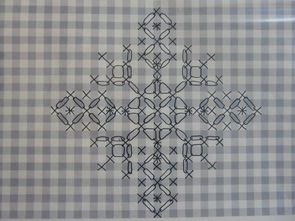 Un petit motif en broderie suisse pour décorer le centre d'un ouvrage.Je me suis inspirée de la forme des délicats flocons de neige pour...