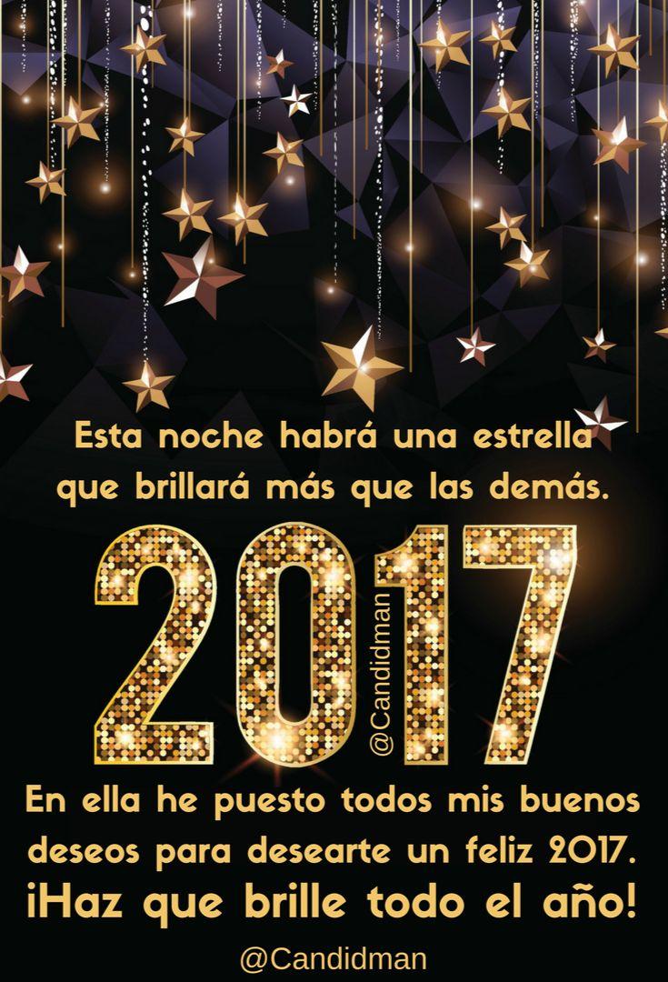"""""""Esta #Noche habrá una #Estrella que brillará más que las demás. En ella he puesto todos mis #BuenosDeseos para desearte un #Feliz2017"""". ¡Haz que brille todo el año! @candidman #Frases #Felicitacion #AnoNuevo #AnoNuevo2017 #FinDeAno #Estrellas #Candidman"""