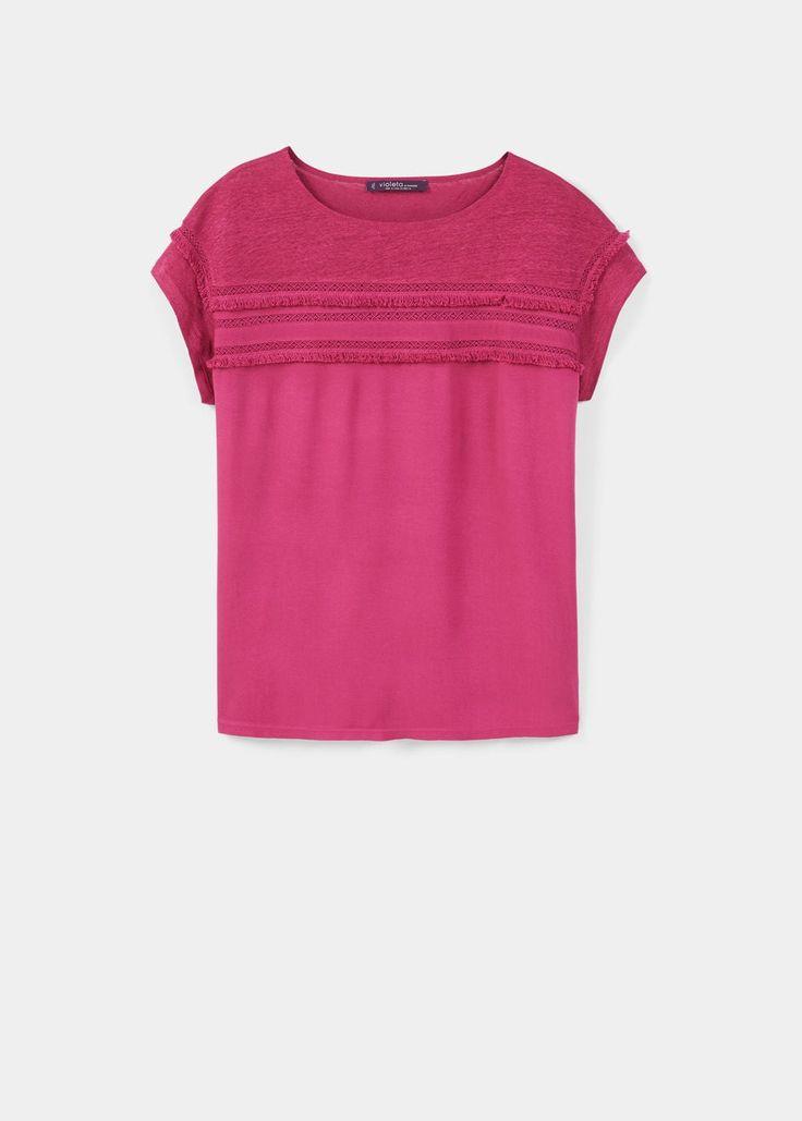 Lniana koszulka z lamówką