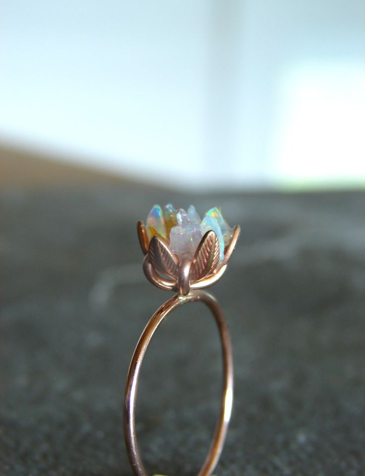 Unique Opal Ring Custom Uncut Opal Engagement Ring Lotus